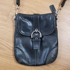 Coach Vintage Small Black Leather Cross Body